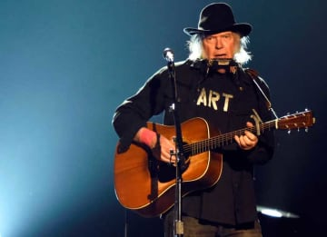 Singer Neil Young performs onstage