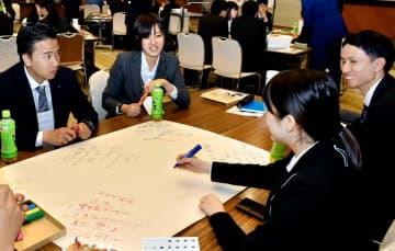 新入社員が愛媛の魅力や理想像を話し合った「愛媛県新社会人会議」=13日午後、松山市湊町7丁目