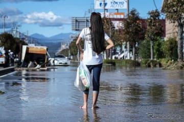 台風19号の被災地(10月13日、栃木県佐野市)