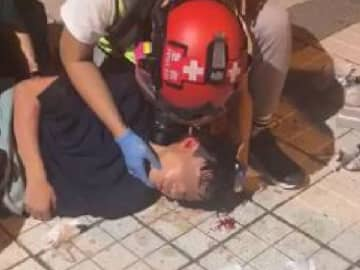 A 15-year-old was hit in the head by a suspected tear gas canister in Tin Shui Wai. Photo: Internet.