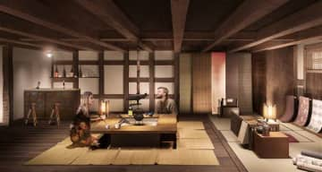いろりが置かれて着物も羽織れる「反物蔵」のイメージ=JR秋田支社提供