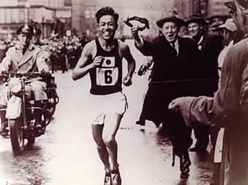 H.Hamamura Boston Marathon in 1955