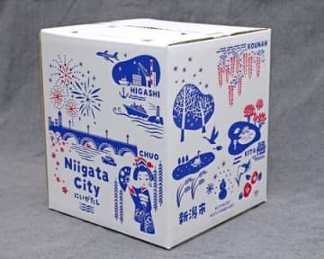 ゆうパック箱に8区の名所紹介 新潟 日本郵便が限定販売