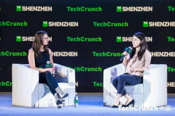 TechCrunch Head of Audience Development Anna Escher talks to Castbox CEO Renee Wang (Image Credit: TechNode/Coco Gao)