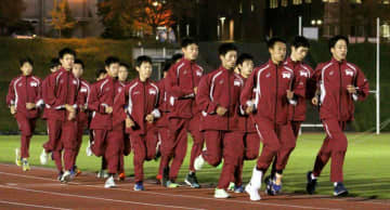 大会2連覇に向けて調整する立命大の選手たち(立命大びわこ・くさつキャンパス)