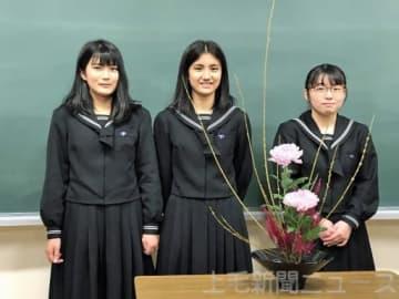 全国大会で連覇を目指す桐生女子高の(左から)坂入さん、小堀さん、朽津さん