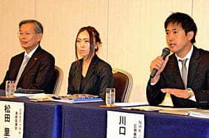 朝ドラの波及効果について語る(右から)川口さん、松田さん、角南さん