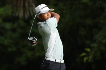 米男子ゴルフのマヤコバ・クラシック第1日、小平智の13番ティーショット=15日、プラヤデルカルメン(ゲッティ=共同)