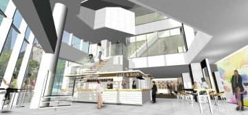 京都信用金庫が新たに開業する交流拠点「Question」の1階に設けられるカフェ&バーのイメージ