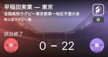 【全国高校ラグビー東京都第一地区予選大会決勝】東京が早稲田実業を破る