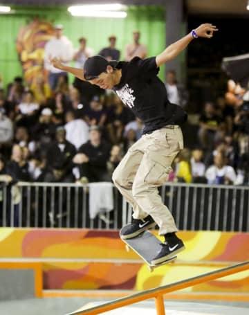スケートボードのSTUオープンに出場した白井空良=16日、リオデジャネイロ(共同)