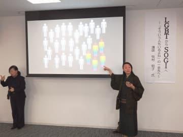 講演会で性的少数者を巡る社会認識の変遷を取り上げる牧村さん(右)=藤沢市
