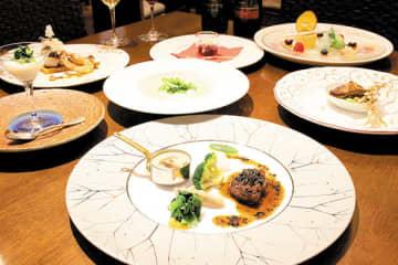 県内の高校生が育てた野菜を使用したフランス料理のコース(ホテルブリランテ武蔵野提供)
