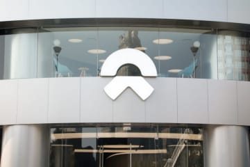 Nio's logo outside one of the company's stores in Beijing on Sept 28, 2019. (Image credit: TechNode/Coco Gao)