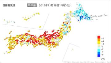 18日(月)の「日最高気温」 出典=気象庁HP