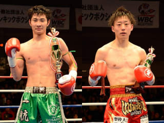 NJKFバンタム級王座決定戦に出場する一航(左)と日下滉大(右)が意気込みを語った