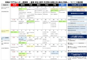 政治関係者に告げる!竹下登の「竹下カレンダー」を現代版に復刻!今後の政治日程をひとめで確認