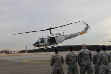 撮影のため、米軍所有のヘリ、UH-1が実際に発進した - (C) 2020『Fukushima 50』製作委員会