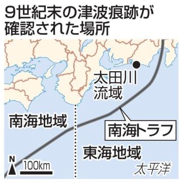 9世紀末の津波痕跡が確認された場所
