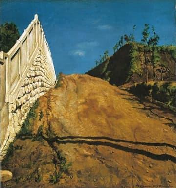 ▲道路と土手と塀(切通之写生) 重要文化財