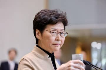 Chief Executive Carrie Lam at a press conference on November 19. Photo: inmediahk.net.