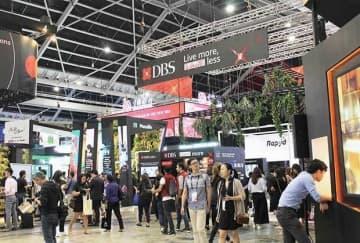 15日まで5日間にわたり開催されたSFFとSWITCHには世界約140カ国・地域から計6万人以上が参加した=シンガポール東部(NNA撮影)
