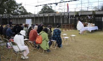 奈良市の奈良公園で行われた「鹿まつり」=20日午前