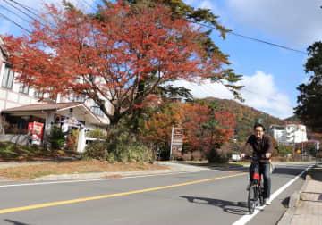 紅葉真っただ中の温泉街を電動自転車で疾走する記者=雲仙市、雲仙温泉街