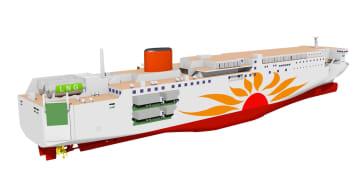 建造するLNG燃料フェリーのイメージ(商船三井提供)