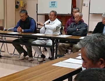 漁場環境の悪化を訴える漁業者=雲仙市、瑞穂町公民館