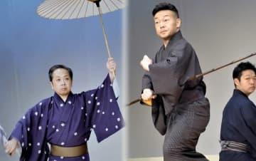 本番さながらの演舞を繰り広げる出演者=18日、大阪市中央区