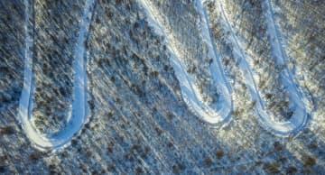森の光と影が織りなす雪景色 内モンゴル自治区