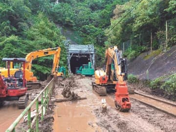 四方津~梁川駅間の復旧作業