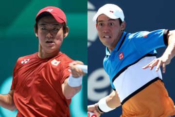 「ATPカップ」グループBの西岡(左)と錦織(右)