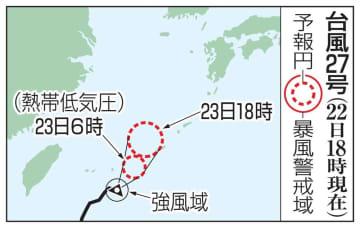 台風27号の予想進路(22日18時現在)