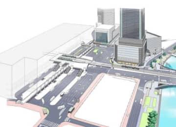 JR広島駅南口広場の再整備イメージ。手前の百貨店ビルなど一部は省略している(広島市提供)