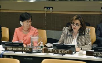中東非大量破壊兵器地帯の実現を目指す国際会議に出席した国連軍縮担当上級代表の中満泉事務次長(左)=22日、米ニューヨークの国連本部(共同)