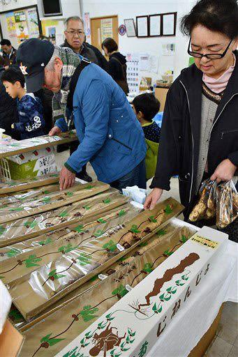 自然薯を買い求める市民ら=平川