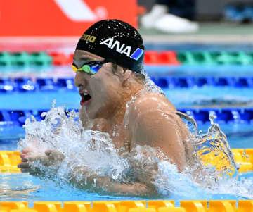 男子200メートル個人メドレーを自己ベストで制した瀬戸大也の平泳ぎ=東京辰巳国際水泳場