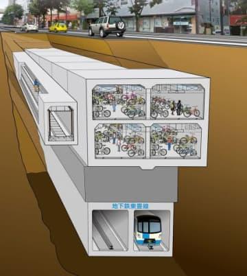 建設中の地下駐輪場の完成イメージ図(岩田地崎・丸彦渡辺・北土特定共同企業体提供)