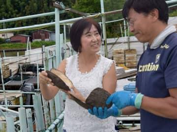 琵琶湖産真珠の養殖場で、齋木雅和さん(右)と話し合う西田さん(滋賀県近江八幡市・西の湖)