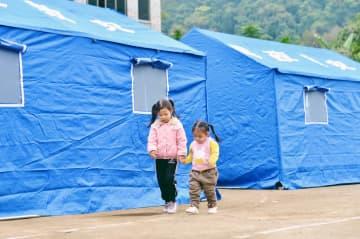 地震後の避難活動進む 広西チワン族自治区靖西市