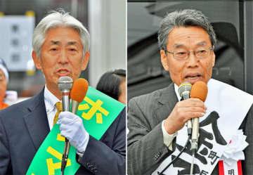 (左から届け出順に)本間恵治候補、金子正一候補