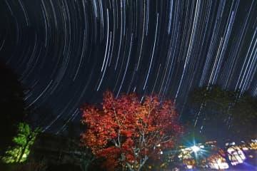 鮮やかな紅葉の背景に浮かび上がる星の光跡(21日、京都市左京区・花背山の家)=10秒露光の画像643枚を合成)