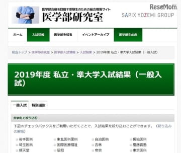 医学部研究室「2019年度 私立・準大学入試結果」