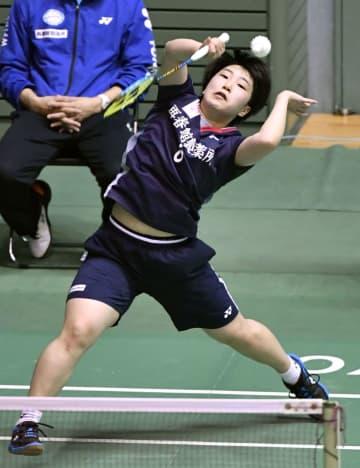 女子シングルス1回戦で勝利した山口茜=駒沢体育館