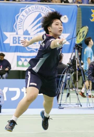 女子シングルス2回戦で勝利した山口茜=駒沢体育館