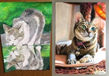 左が中3(絵の具)、右が高3(色鉛筆)の作品=長靴をはいた猫さん(@erumo_0384)提供