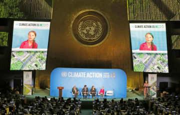米ニューヨークの国連本部で開かれた気候行動サミット。グレタ・トゥンベリさんも温暖化対策強化を訴えた=9月(ロイター=共同)