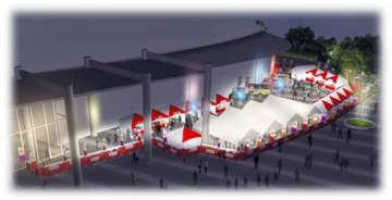 パークドーム熊本周辺に設けられるファンゾーンのイメージ図(熊本国際スポーツ大会推進事務局提供)